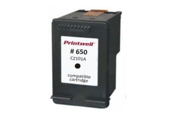 Černá inkoustová kazeta CZ101AE (No:650 XL BK)+NOVÝ ČIP inkoustová. Vytiskne přibližně 1250 stran A4 při 5% pokrytí.
