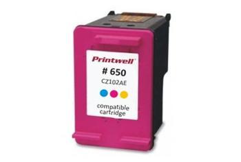Azurová/Purpurová/Žlutá inkoustová kazeta CZ102 (No:650 COLOR) kompatibilní. Vytiskne přibližně 440 stran A4 při 5% pokrytí.